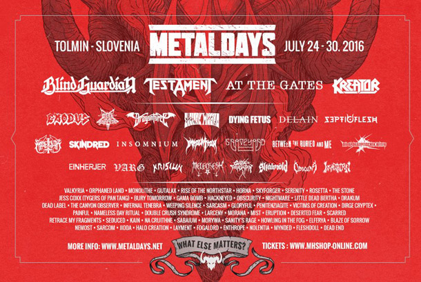 77 band annunciate per il Metaldays 2016 (Tolmin, SLO)