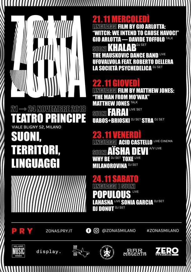 Dal 21 al 24/11 a Milano c'è Zona5 tra concerti, djset, incontri e proiezioni di film in anteprima