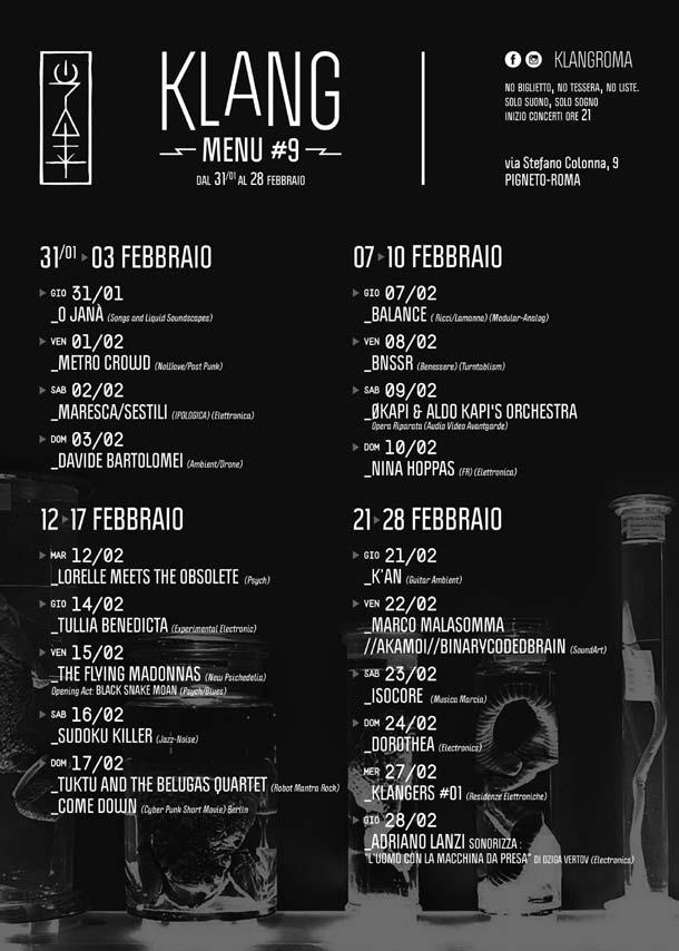 Le prossime date di febbraio per il Klang di Roma: